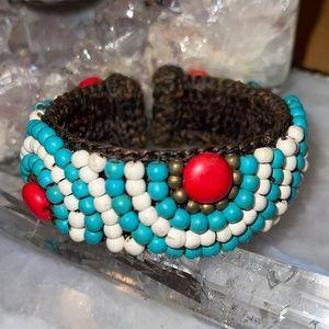 Anthropologie Boho Turquoise Bead Cuff Bracelet